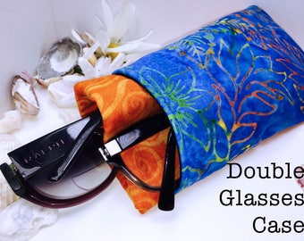 Wild Batik Double Glasses Case, Orange Double Pocket Sunglasses Pouch, 2 Pocket Eyeglasses Case, Eyeglasses Organizer