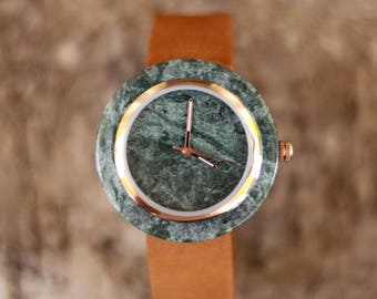 Deep green Marble Watch Real Stone Watch