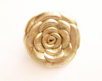 Golden Leather Rose Leather Brooch Leather Flower Brooch For Woman Gift Idea For Her Leather Jewelry
