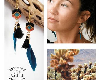 Small weaving and feather earrings