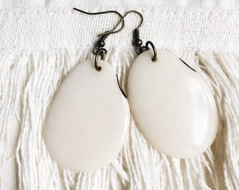 Tagua nut earrings, cream, boho, bohemian, nature jewelry