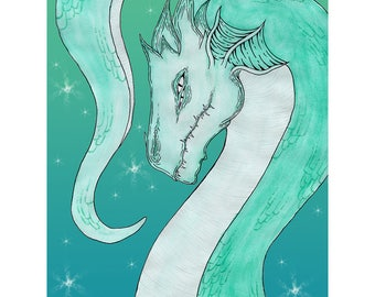 "Dragon Print, ""Aquarto"" 8x10, Teal"