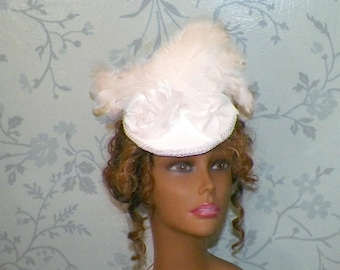 White Hat Fascinator Victorian Retro Bridal Vintage Style Steampunk Lolita Bridal Headpiece Old West  Marie Antoinette