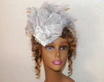 Silver Fascinator Gray Bridal Headdress Lolita Victorian Hat Feather Steampunk Costume Headpiece Old West  Marie Antoinette