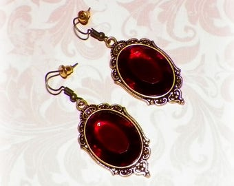 Victorian Earrings Red Gothic Vintage Style Steampunk Ruby Color Dangle Antique Gold