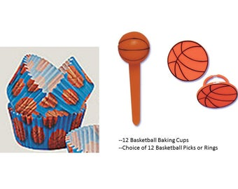 Basketball Rings or Picks with Basketball baking cups