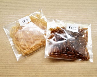 2 bags of 2 x180 pearls glass, caramel and brown rocaille tubes, 6 * 2 mm