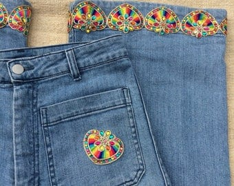 Re~styled Rainbow Heart Jeans