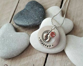 Personalized name - charm - gemstone necklace