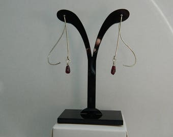 Sterling Silver & Garnet Handmade Earrings