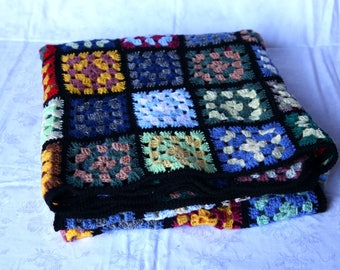 Plaid Patchwork squares of multicolored wool