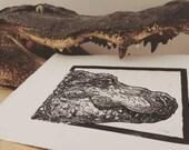 Alligator: Linocut origin...