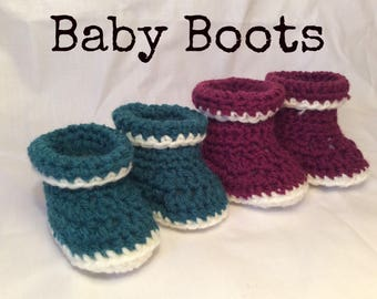 Crocheted Cuff Baby Booties