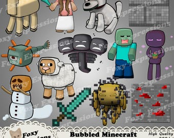 Bubbled Minecraft Characters pack 4 of 4 includes llama, dog, guardian,wither, enderman, blaze,sheep, snow golem, zombie, girl, sword & more