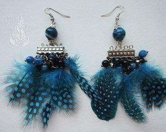 Feather earrings Beaded earrings Long dangle earrings Big earrings Boho earrings Modern earrings Gift for girl For her earrings For women