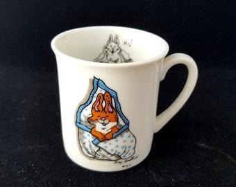 Suzy's Zoo Vintage Bunny Rabbit Child's Mug Cup, Suzy Spafford, 1976