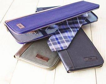 Personalized Men's Travel Tie Case, Custom Tie Holder