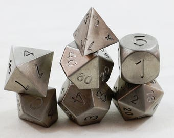 Zucati Dice: Stainless Steel Polyhedral Set of 7 with Case