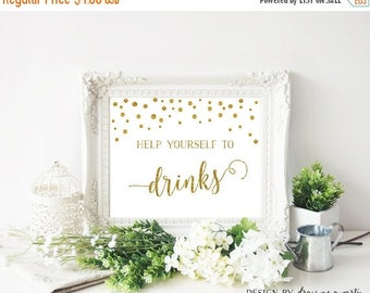 20% OFF Gold Baby Shower Drink Sign , Gold Bridal Shower Table Sign , Help Yourself Sign , Drink Table Decorations , Printable , Instant Dow