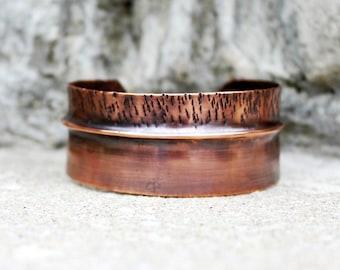 Casual Chic Copper Cuff Bracelet, Rustic Copper Cuff Bracelet, Minimalist Copper Cuff, Fold Formed and Hammered Copper Bracelet,