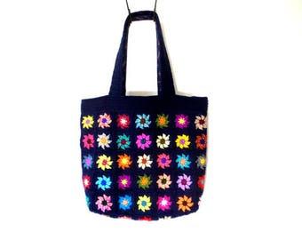 Bag crochet Tote bag dark blue multicolored flowers