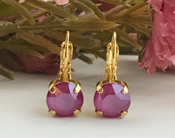Swarovski Earrings, Pink Peony Crystal Earrings, Pink Crystal Earrings, Drop Earrings, Gold Earrings, Simple Crystal Earrings, 8mm Earrings