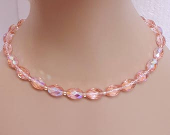 """Free Ship* Vintage 1930-40s Long 19"""" Pink Faceted Vertical Glass AB Crystal Bead Choker/Necklace; Collectible Mid Century Costume Jewelry"""
