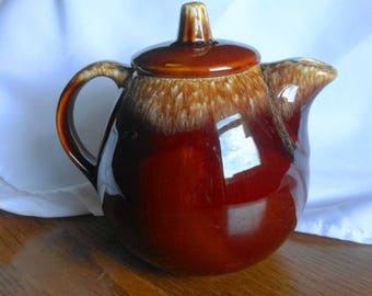 Vintage Hull Brown Drip Teapot with Lid Ovenproof Made in USA Pottery