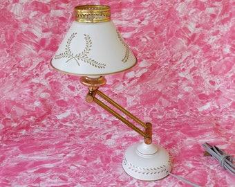 Vintage Fully Adjustable Tole Table Lamp, Desk Lamp
