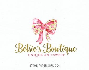bow boutique logo premade logo design photography logo bow shop logo watercolor logo gold foil logo bespoke logo baby boutique logo