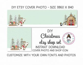 Christmas Etsy Set DIY Etsy Set Holiday Etsy SetPremade Etsy Set Etsy Cover Photo Shop Icon pig etsy set barn etsy set INSTANT DOWNLOAD