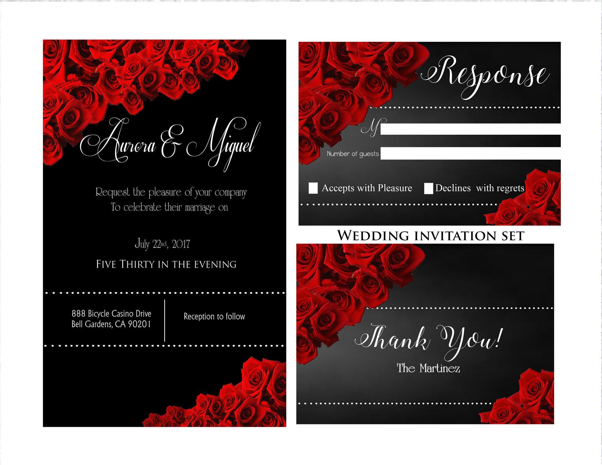 Red And Black Wedding Invitations Templates: Printable Wedding InvitationBlack And Red WeddingElegant