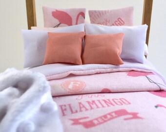 Bed Linen Modern Miniature 1:12 Dolls House Bedroom Styling Pink Flamingo 9 Piece Bedding Set Comforter Pillows