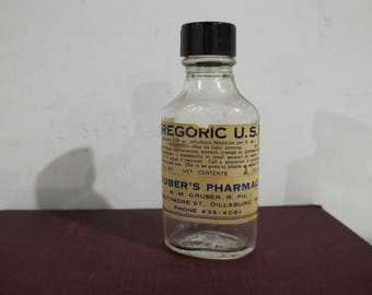 Vintage 1oz Morphine Bottle From Gruber's Pharmacy in Dillsburg, PA - FREE SHIPPING!!!