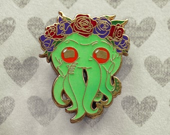 Cthulhu, Glow In the Dark, Enamel Pin, Valentines Day, Gift for Him, Husband Gift, Wife Gift, Girlfriend Gift, Boyfriend Gift, Cthulhu Pin