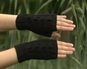 Black fingerless gloves Knit hand warmers Knitted fingerless mittens Texting gloves Womens black gloves Cable mitts Knit autumn fingerless