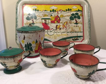 Ohio art tin metal child's tea set - vintage shabby rustic tea set - miniature tea set - Vintage Childs Tea Set - Ohio Art Tin Litho tea set