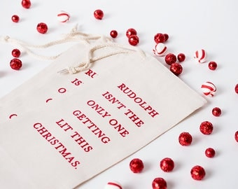 Holiday Humor, Christmas Gift, Wine Bag, Wine Present, Champagne Bag, Funny Gift, Unisex Present, Gift under 15, Booze Bag, Secret Santa