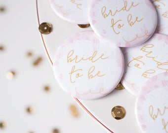 Bride to Be Pin, Bridal Button, Bridal Party Flare, Bride Embellish, Bachelorette Party, Wedding Shower Decor, Blush and Gold