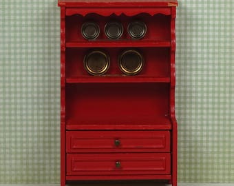 Doll house vintage sideboard Lundby 1970s furniture wood red