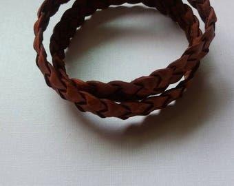 Brown braided genuine leather wrap bracelet for men. Size XL.