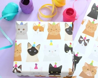 Birthday cat wrapping paper