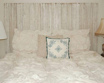 Barn Walls Queen Headboard - Off White Distressed Color. Hang on the wall like picture frames
