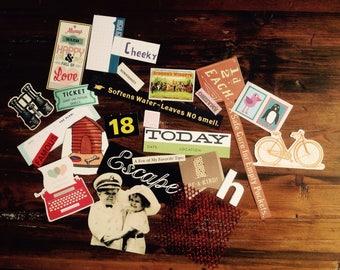 Paper Craft Kit, Scrapbooking Ephemera (25 pieces), Journalling Embellishments, Craft Kit, Junk Journal, Glue Book, Daily Planner, Art