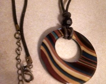 """Pendant Necklace, Swirled Designed Pendant, Gifts for Her, Accessories, Plastic 2"""" Hoop Pendant, Tans and Blues Pendant, Necklaces, Jewelry"""