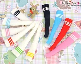 Blythe Pullip Knee Print Socks (Student / White Stripe)
