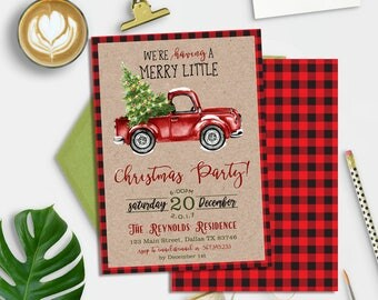 Christmas Party Invitation Printable, Truck Christmas Party Invitation, Flannel Christmas Invitation, Retro Christmas Party, Buffalo Plaid