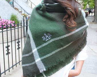 Monogrammed Blanket Scarf - Green & White - Game Day / Tailgate