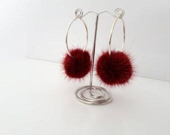 Burgundy pompom earrings, Silver 925 Hoop Earrings with fur pompom. Real  mink fur earrings