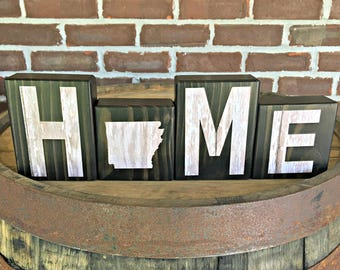 Arkansas Home Blocks | Rustic Wooden Letter Blocks | Wooden Home Decor | Housewarming Gift | Gift Under 20 | Arkansas Sign | Farmhouse Decor